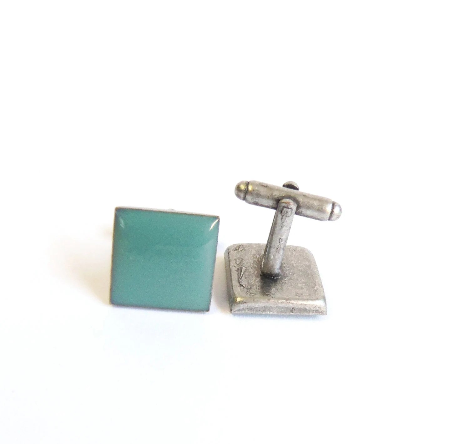 Mint green cufflinks silver plated cufflinks unique gifts - agatechristina