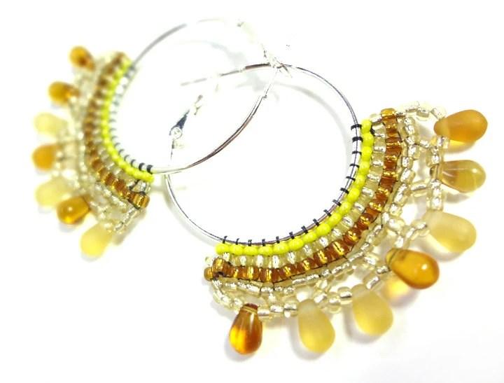 Autumn Yellow Hoop Earrings - MegansBeadedDesigns