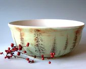 Large Ceramic  Bowl - Pine Trees - Decorative - Functional -  Hand Thrown Stoneware Pottery - JustMare