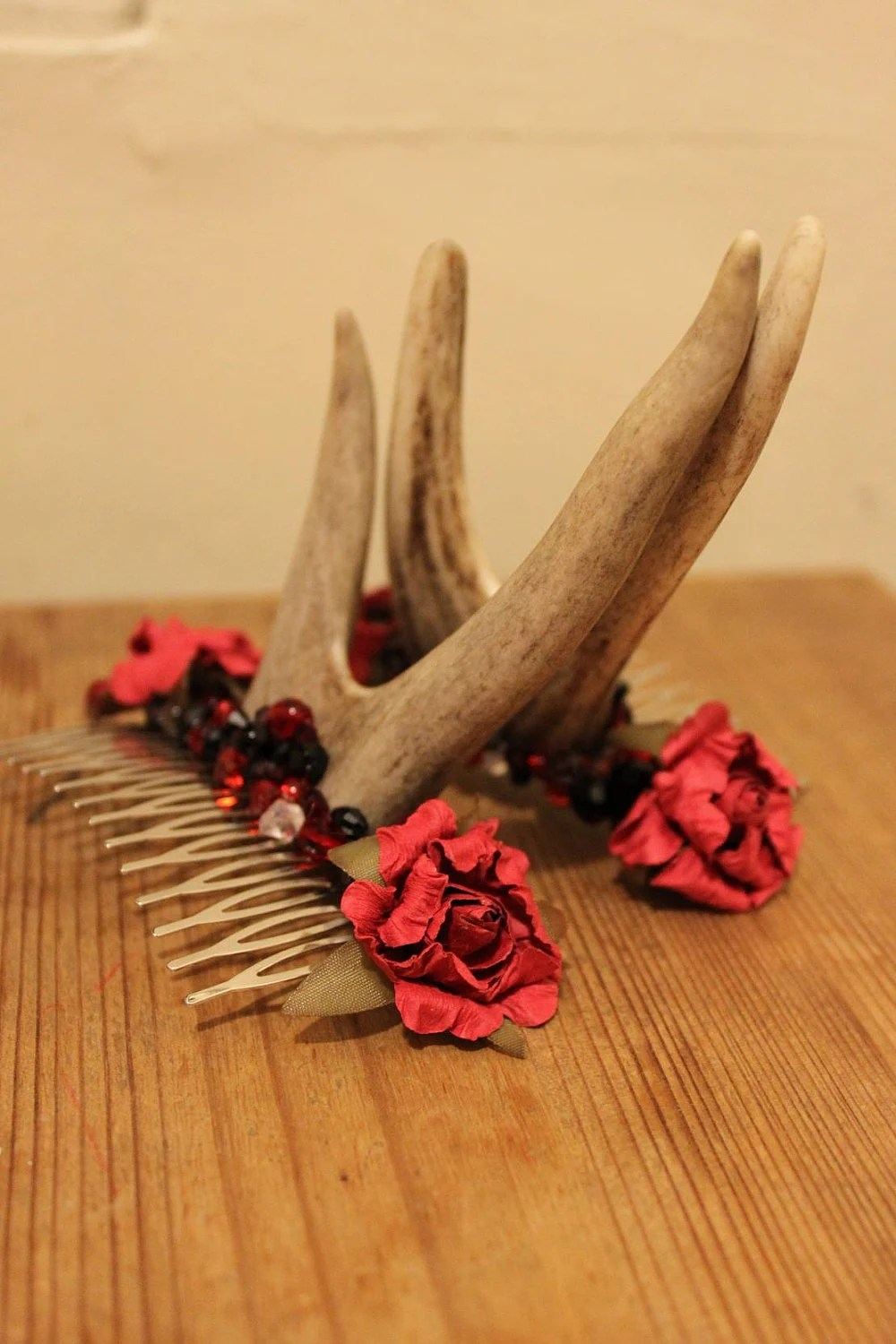 Woodland nymph head adornment - Red Rose and Black crystal.