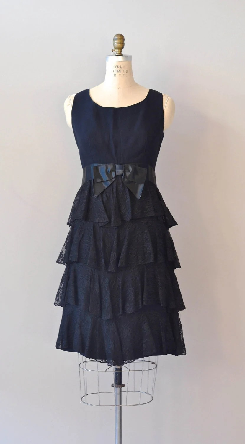 1960s dress / black lace 60s dress / Trio 1964 dress