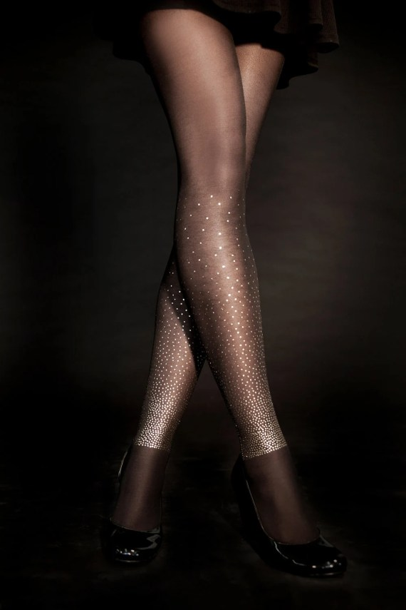 EXCLUSSIVE Hand Printed Tights - Starry Night, Gold on Sheer Black, Flash Back collection - galstern