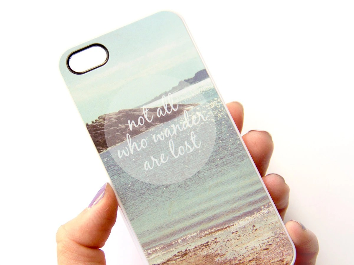 iPhone 5 Case / Not All Who Wander Are Lost / plastic iPhone Cover, beach ocean photograph, iPhone case, nature landscape photo, quote - JillianAudreyDesigns