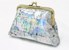 Hand printed metallic distressed holographic coin purse - BlackCactusLondon