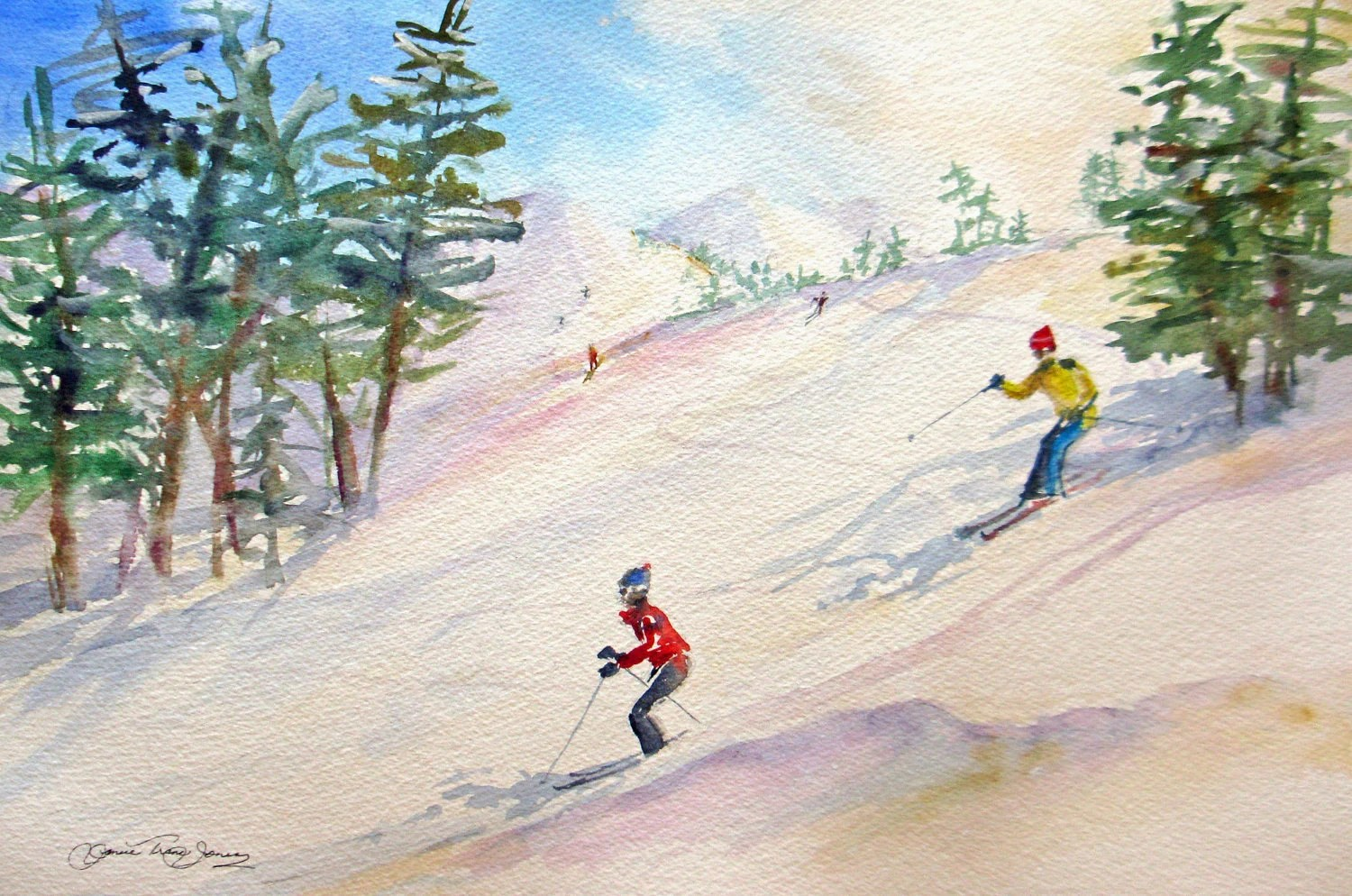 large original watercolor painting skiing snow winter landscape mountains pine trees sports fine art 18 x 24 frame ready - JaniceTraneJones