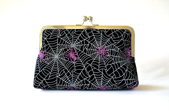 Sparkly Spiders Clutch Bag Purse Halloween Accessories by Lolis Creations - loliscreations