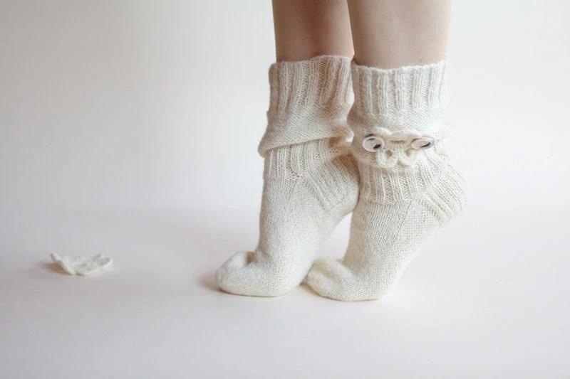 White Flower wedding elegant knitted wool socks for women or girl MADE TO ORDER - RGideas