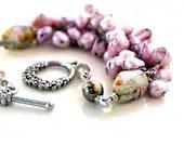 The lilac flower bracelet. edgy pearl wrapped bridal bracelet. pyrite, czech glass, soft purple pearls. flower clasp - UniqueNecks