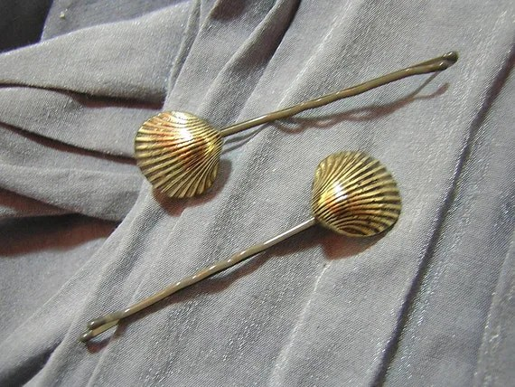 Gold Shell Hair Pins - Handmade by Rewondered D202P-00002 - $4.95