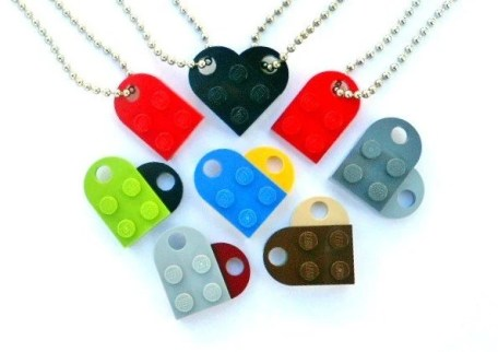 Lego Heart Keychain Necklace Set Friendship BFF Couples - Includes Lego Heart KEYCHAIN Set - Two Lego Zipper Pull Charms & Gift Pouches