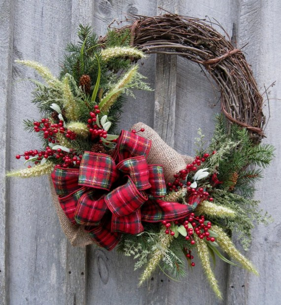 Christmas Wreath, Holiday Wreath, Woodland Country Christmas, Plaid Bow - NewEnglandWreath