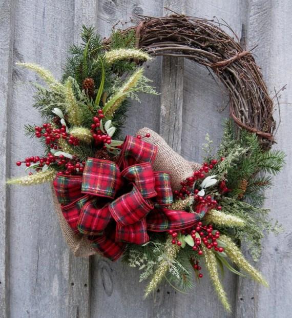 Christmas Wreath, Holiday Wreath, Woodland Country Christmas, Plaid Bow - NewEnglandWreath