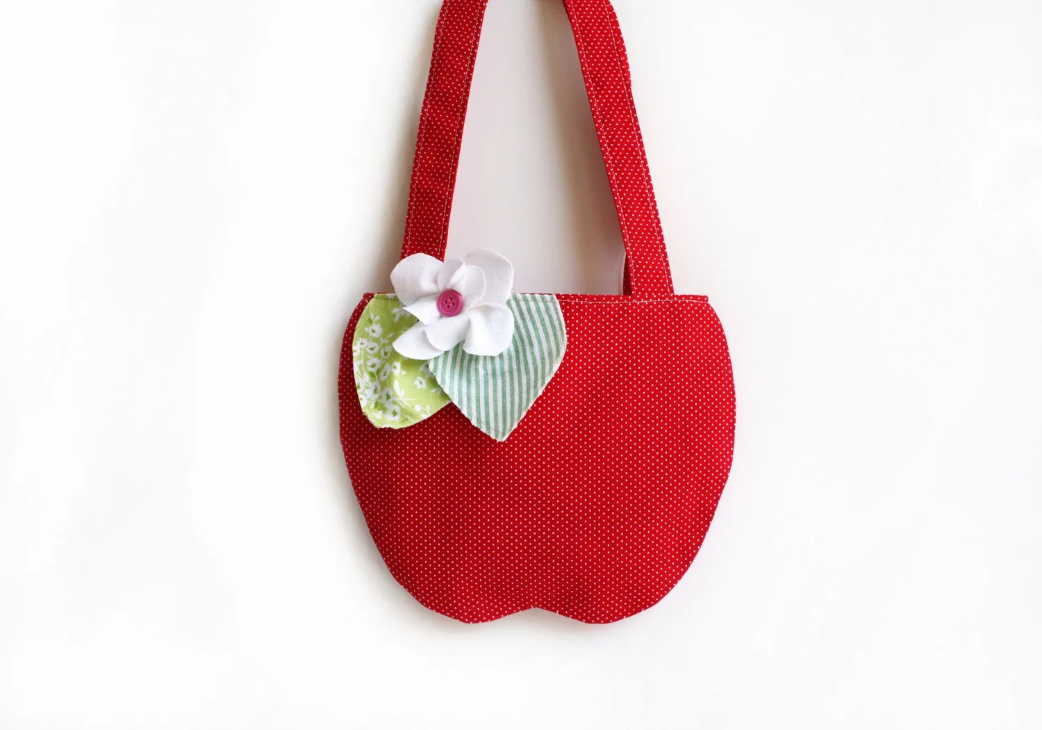 Girl's Red Apple Purse, Children's Accessories,  Apple, Tote Bag, Kids, Polk Dots, Girl's Purse - AppleWhite