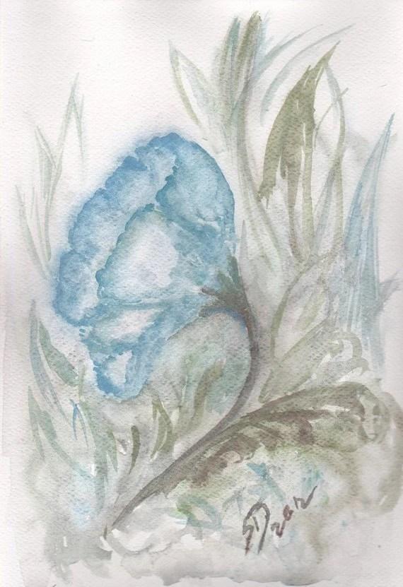 aguarela da flor original - azul flor de mão pintura de arte feitas decoração