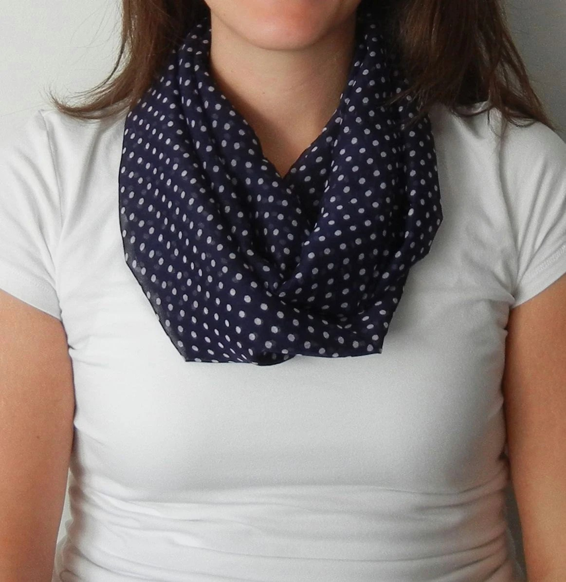 Navy and White Polka Dot Infinity Scarf
