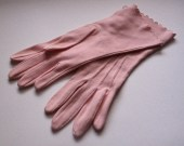 Vintage 1950s Deadstock Pink Gloves  4-button Length - Cotton