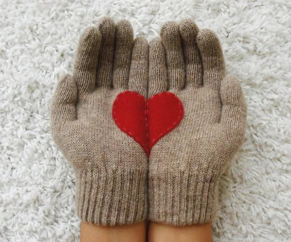 Heart Gloves, Beige Gloves with Red Felt Heart