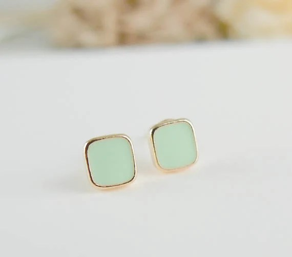 tiny mint green square earrings