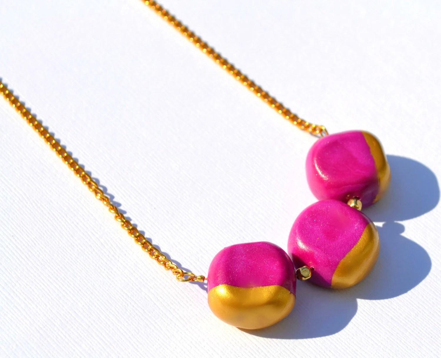The Cove Necklace - Fierce Fuchsia - Polymer Clay and Gold Dipped