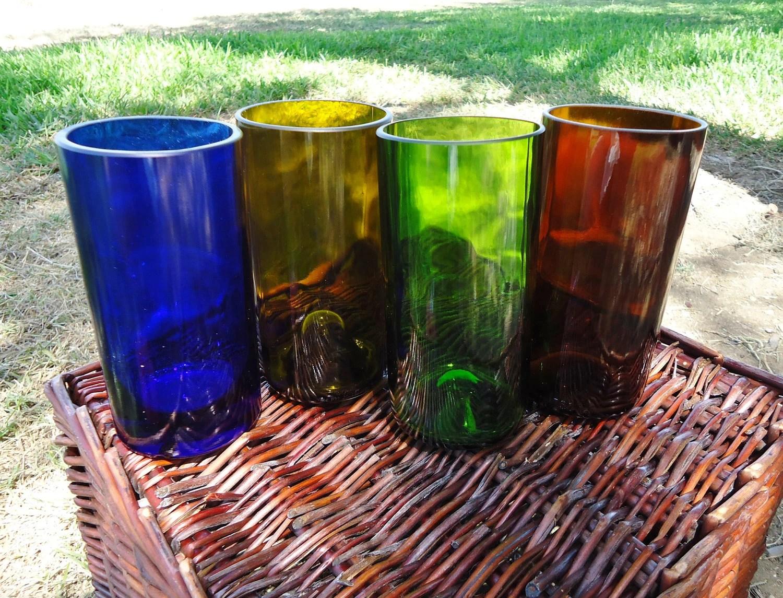 Recycled Wine Bottle & Liquor Bottle Glasses Multi Color Set of 4