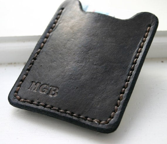 Personalized Mens black leather wallet with money clip - monogrammed credit card holder