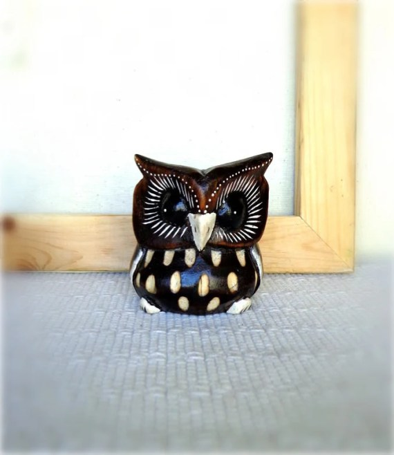 Hand Carved Wooden Owl Figurine Wood Bird Carving Owl Sculpture - Artbagss