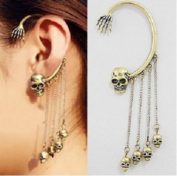 1 Pc Fashion Chic Gothic Punk Retro Copper Tassels 3D Skeleton Skull Head Ghost Hand Shape Ear Cuff Clip Stud Wrap PIERCING Earrings