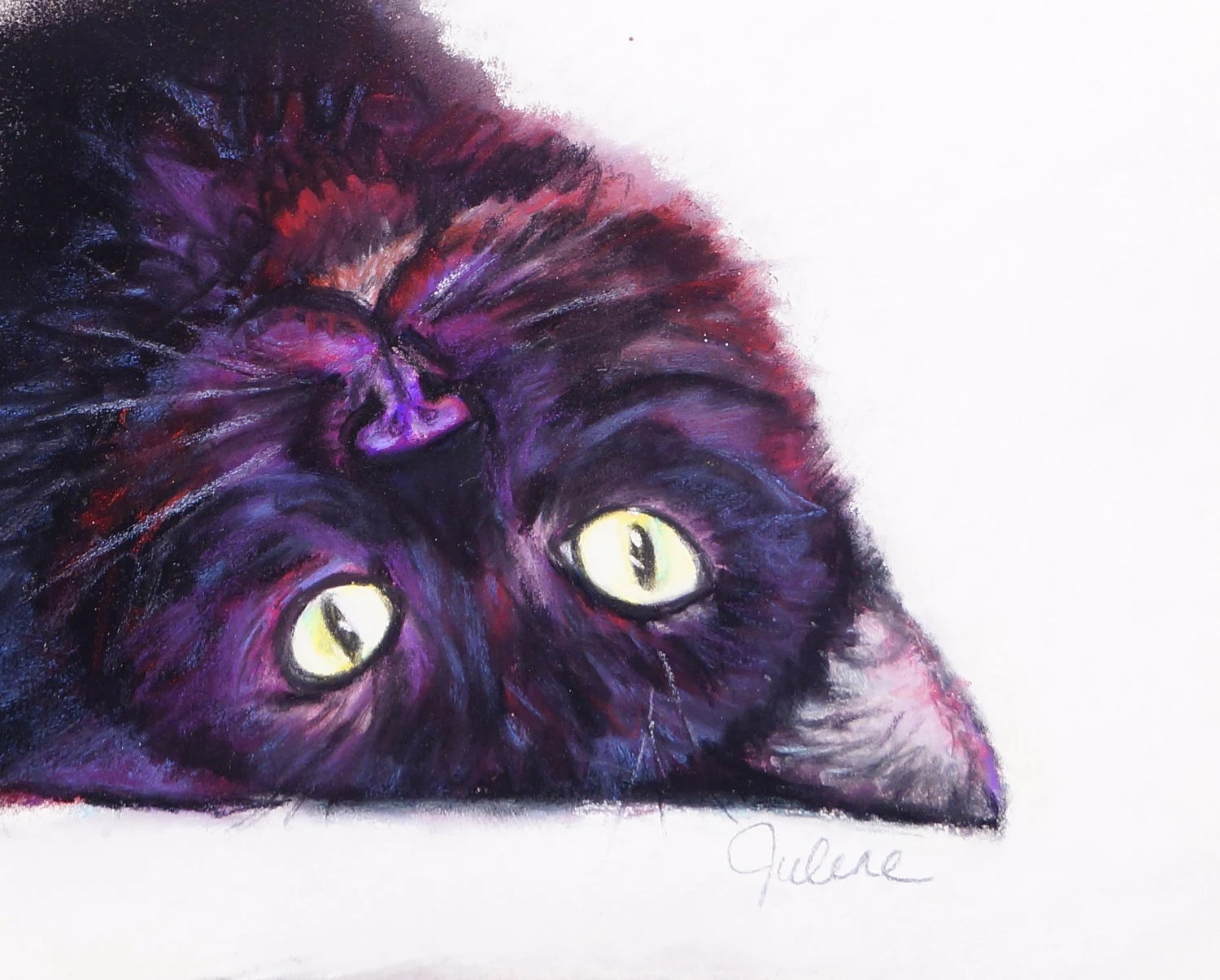 Black Kitty Rolling Over: Original Pastel Painting - ArtByJulene