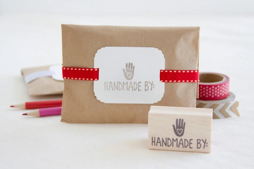 Handmade By Rubber Stamp - Personalize Handcrafted Items - Great 4 Crafters Scrapbookers Bakers Artists Moms & Anyone Who Makes Stuff