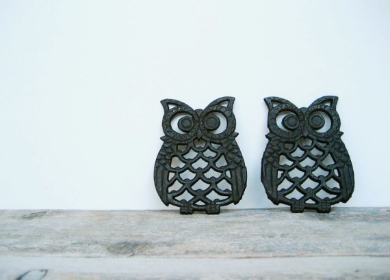 Vintage Pair of Owl Trivets - estherlayne