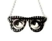 Surreal Eyeglass Necklace Eyes Silver Customize Personalize Black and White Polka Dot Statement Jewelry - TheSpangledMaker