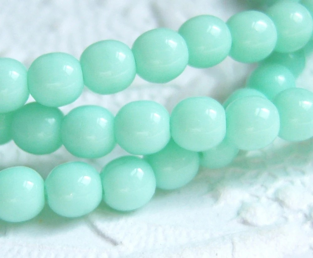 Mint green glass 4mm round Czech bead lot of (50)  - VB58 - MarilynsNewVintage