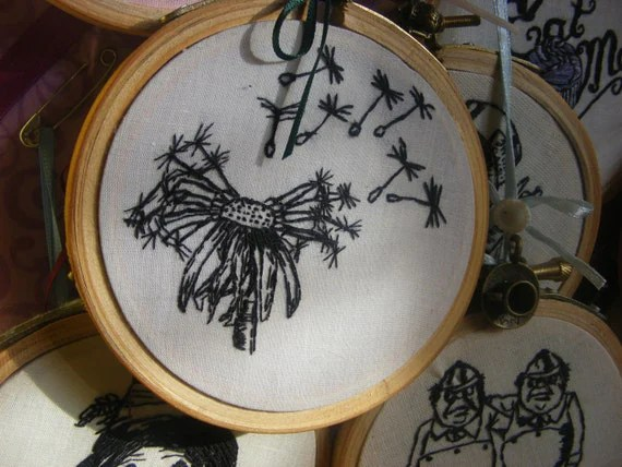 3x3 inch embroidery hoop dandelion seed head.Mini embroidery hoop art .