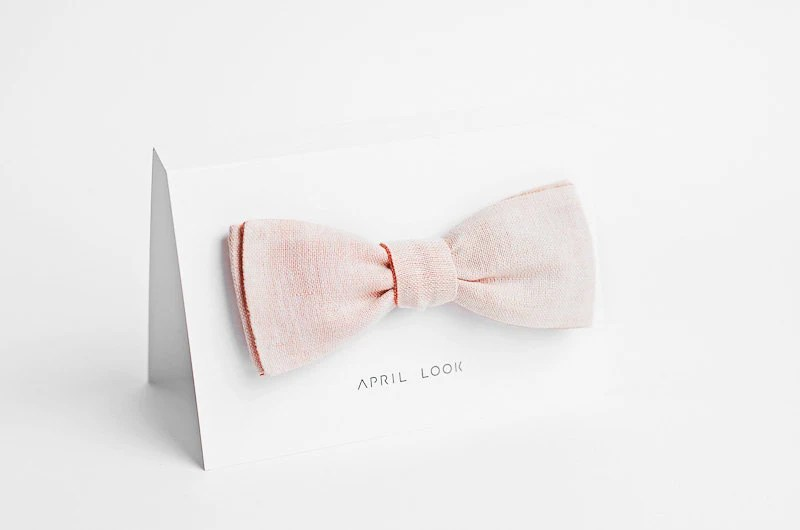 Blush bow tie, peach bow tie - double sided - APRILLOOKshop