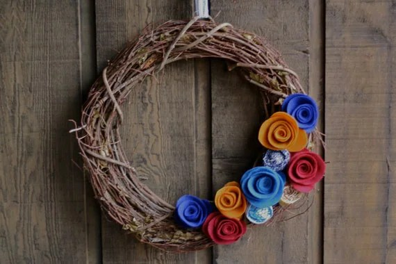 Rustic Fall 18'' Grapevine Wreath With Vintage Fabric and Blue, Maroon, and Gold Flowers