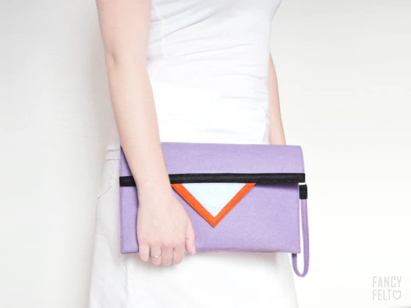RESERVED Geometric purple orange black white felt clutch bag - FancyfeltShop