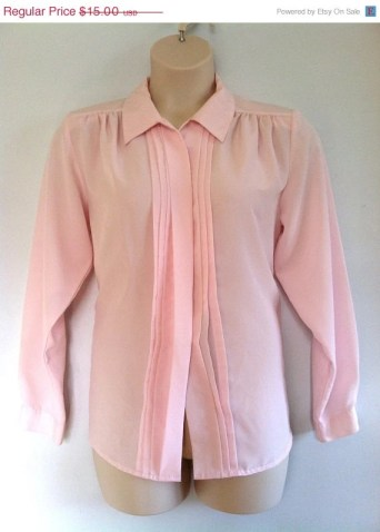 20% OFF Plus Size Vintage 80s Pink Blush Pleated Front Blouse