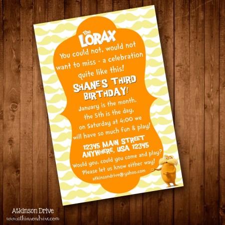 Printable Lorax Birthday Party Invitation