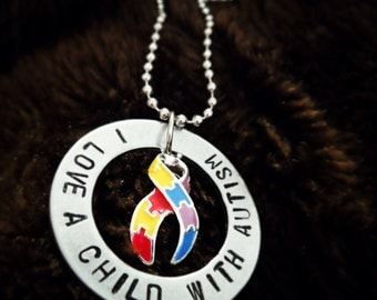 Autism Awareness- I Love A Child With Autism necklace