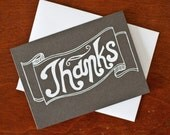 thank you card chalkboard banner screenprinted - exit343design
