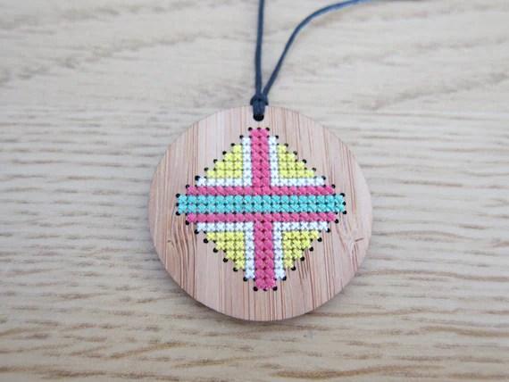 Circle Bamboo Cross Stitch Pendant Necklace