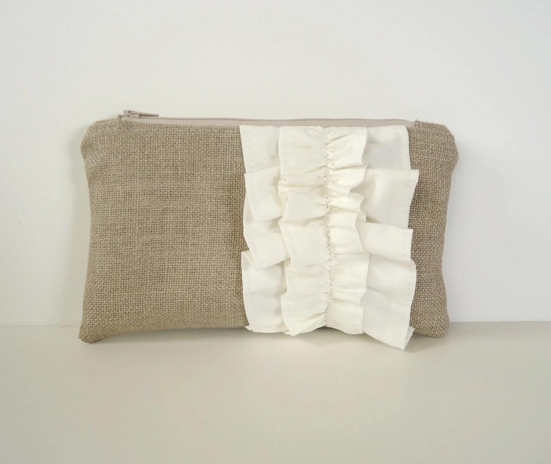 White Burlap Ruffle Zipper Clutch - Bridesmaid Pouch - White Wedding Bag - JuneberryStitches