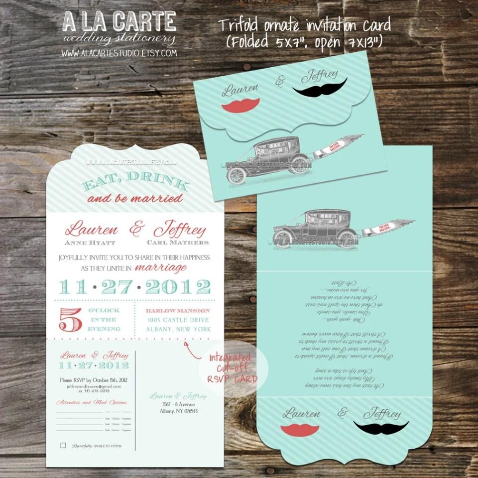 Tri Folded Ornate Vintage Moustache Lip Wedding Invitation Suite with Tear-of RSVP card