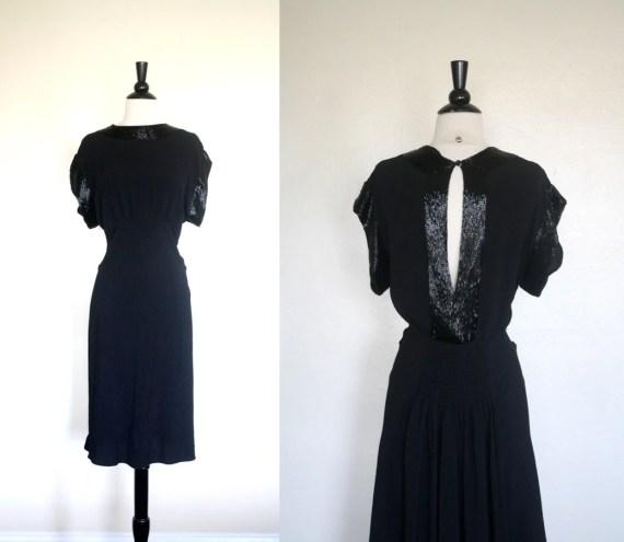 Vintage 20s Dress / Black Rayon Crepe Dress / 1920s Beaded Flapper Dress M L