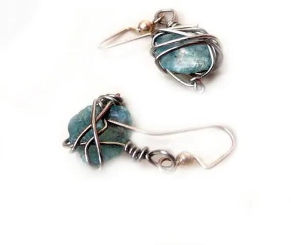 Aqua Blue Sea Glass Wire Wrapped Dangle Earrings - Silver Wire