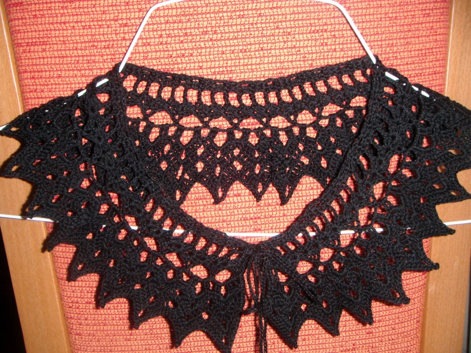 Stunning black crochet collar necklace