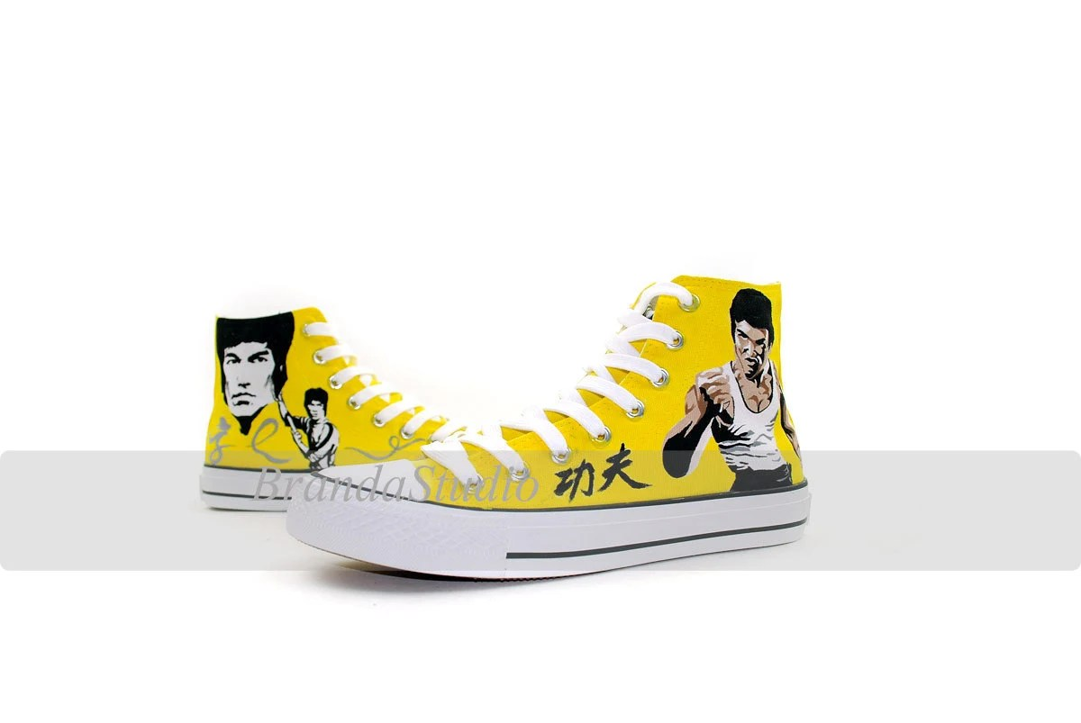 Bruce Lee Kung Fu Master Jeet Kune Do Martial Custom Hand Painting Shoes Sneakers Hand Painted High Top