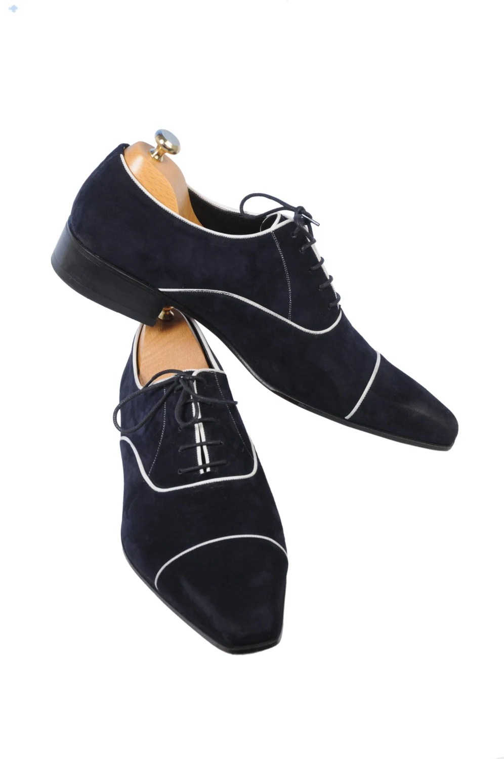 Handmade Special Design Luxury Navy Blue Mens Shoes - UstabasShoes