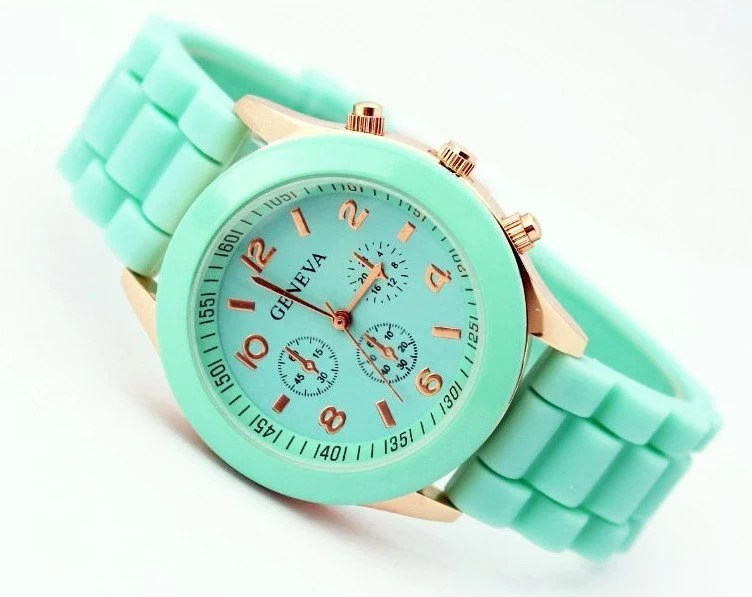 Mint green silicone Geneva women's watch - HelmaRose