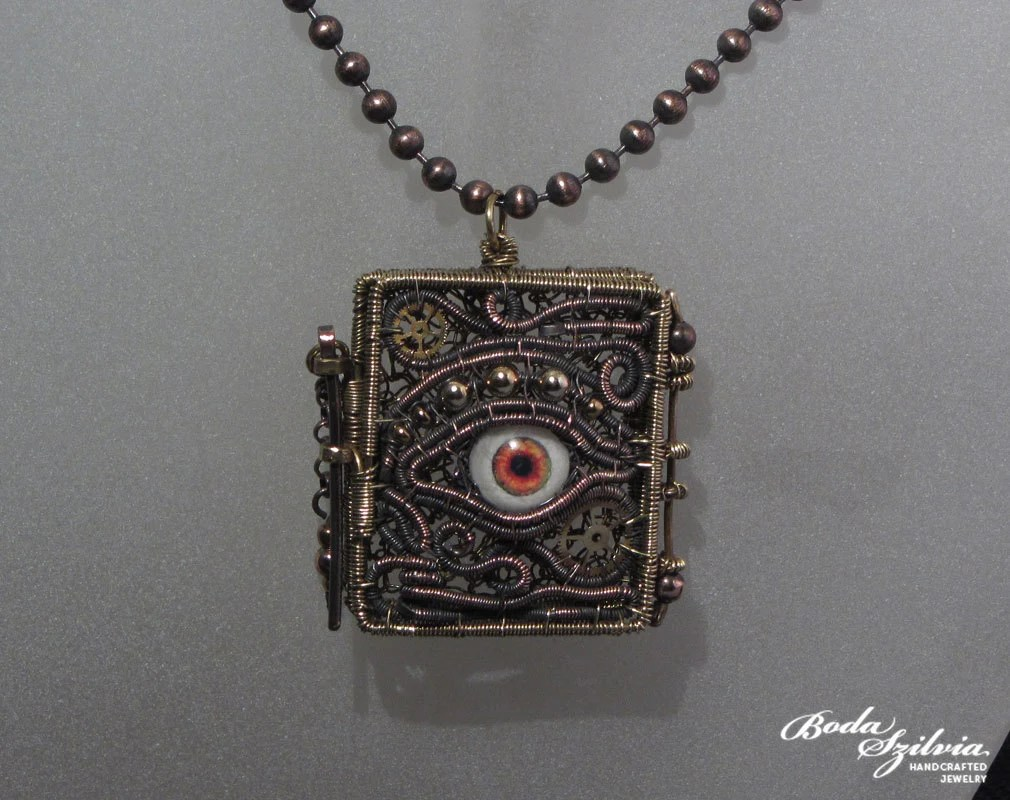 WATCHER - OOAK steampunk locket pendant